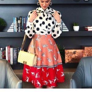 Anthropologie Hutch Sporty Dalmatian A-line Skirt